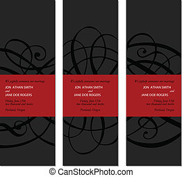 ornamentale, set, cornice, vettore, nero, alto, rosso