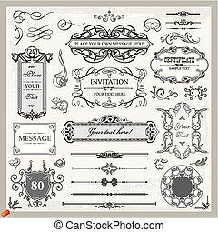 ornamentale, set, uno