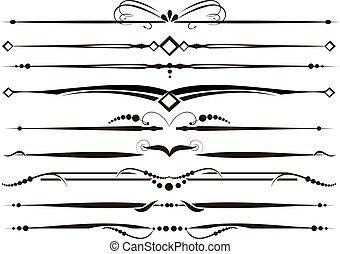 ornamentale, set, vectorized, divisori, linee, regola