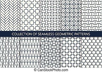 ornamentale, -, sfondi, seamless, collezione, modelli, vettore, geometrico