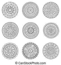 ornamentale, stile, set, elements., cerchi, scarabocchiare, pattern., mano, fondo., vettore, disegno, disegnato, logotipo, bianco, mandala, style., cerchio, rotondo, nero