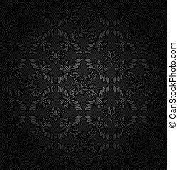 ornamentale, tessuto, grigio, struttura, sfondo scuro, fiori, velluto coste