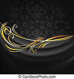 ornamentale, tessuto, tendaggio, scuro, sfondo nero