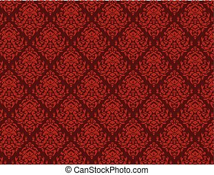 ornamentale, wallpaper., damasco, reale, pattern., fondo., lusso, floreale