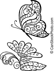 Ornamented abstract butterfly and flower