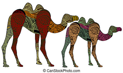 ornamented camels of various elements on a white background