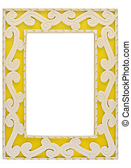 Ornamented Frame - Yellow ornamented empty picture frame to...