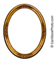 Ornamented gold plated empty picture frame Isolated on white background.