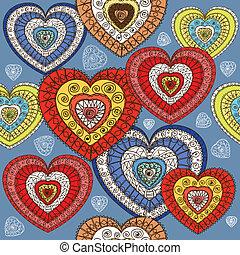 ornamented, kleur, hartjes, seamless, achtergrond