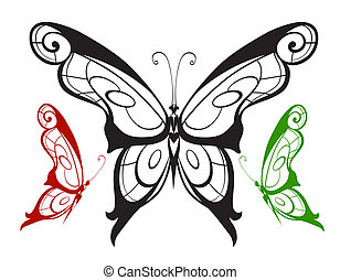 Ornamented silhouette butterfly
