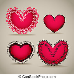 Ornamentel red Valentine`s day hearts