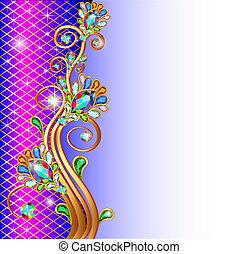 ornamenti, oro, fondo, gemme, stelle