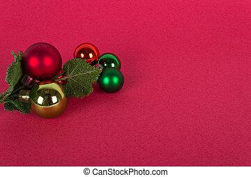 ornamento, árbol, navidad, plano de fondo, rojo