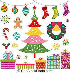 ornamento, árvore, presente natal