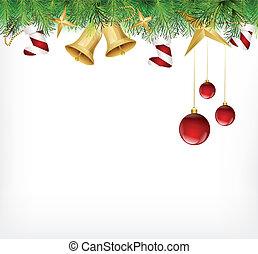 ornamento, albero, scheda natale, appendere
