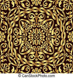 ornamento, asiático, ouro