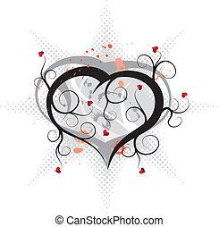 ornamento, astratto, vettore, valentines