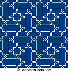 ornamento, azul, seamless, clásico, morisco