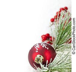 ornamento, borda, natal, vermelho