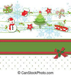 ornamento, cartão natal, saudação