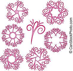 ornamento, cobrança, cor-de-rosa, vetorial