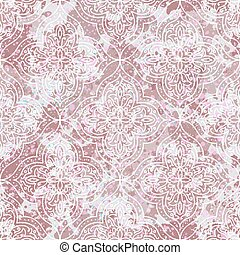 ornamento, damasco, vettore, textured, fondo., hand-drawn