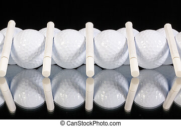 ornamento, de, bolas golfe, e, branca, cigarros