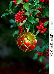 ornamento de navidad, bayas, acebo