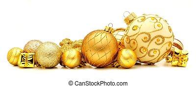 ornamento de navidad, dorado, frontera