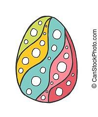 ornamento, elemento, pasqua, disegno, zentangle, decorato, uovo, scarabocchiare, felice