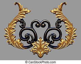 ornamento, elementos, vindima, ouro, floral, projetos
