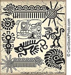 ornamento, em, estilo, de, a, maya