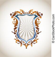ornamento, escudo, metálico