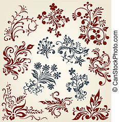 ornamento, floral, vector, elementos