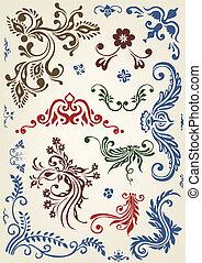 ornamento, floral, vetorial, elementos