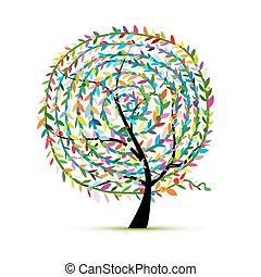 ornamento, foglia, albero, colorito, spirale