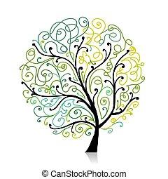 ornamento, folha, árvore, coloridos, espiral