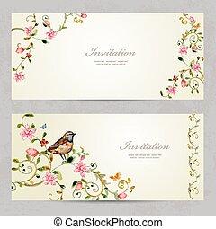 ornamento, foliate, acuarela, p, flowers., invitación,...