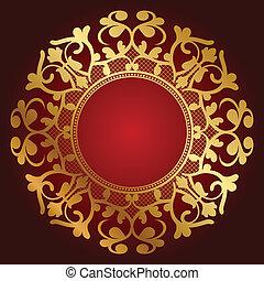 ornamento, fondo, oro
