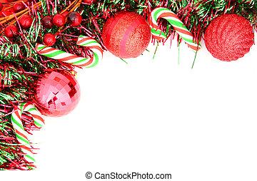 ornamento, frontera, navidad, rojo