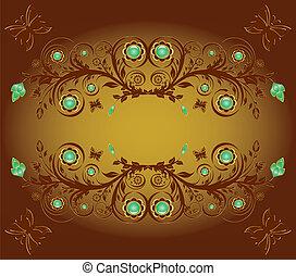 ornamento, illustrazione, farfalle, vettore, fondo, floreale
