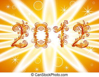 ornamento, illustrazione, vettore, fondo, anno, floreale, nuovo, 2012