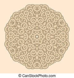 ornamento, mandala., pattern., redondo