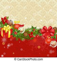 ornamento natal, quadro, com, presentes