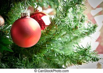 ornamento natale, con, albero, in, fondo