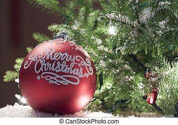 ornamento natale, con, illuminato, albero, in, fondo