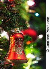 ornamento natale, con, illuminato, albero, in, fondo, spazio copia