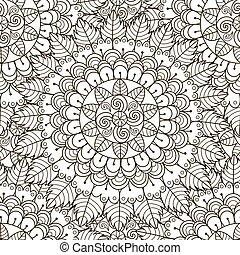 ornamento, pattern., seamless, struttura, nero, floreale, bianco, rotondo
