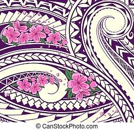 ornamento, polynesian, estilo