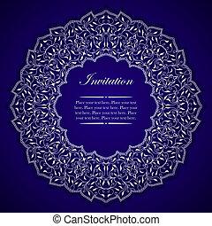 ornamento, redondo, elegante, convite, prata, cartão